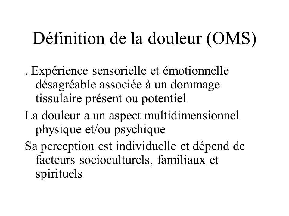 Définition de la douleur (OMS). Expérience sensorielle et émotionnelle désagréable associée à un dommage tissulaire présent ou potentiel La douleur a