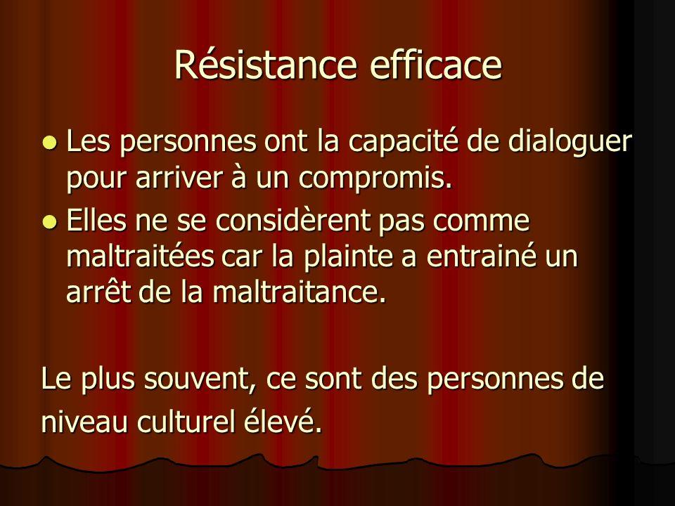 Résistance efficace Les personnes ont la capacité de dialoguer pour arriver à un compromis. Les personnes ont la capacité de dialoguer pour arriver à