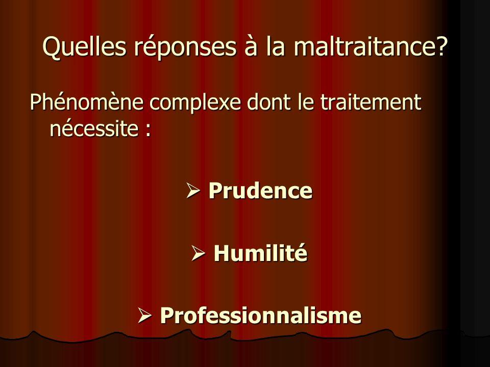 Quelles réponses à la maltraitance? Phénomène complexe dont le traitement nécessite : Prudence Prudence Humilité Humilité Professionnalisme Profession