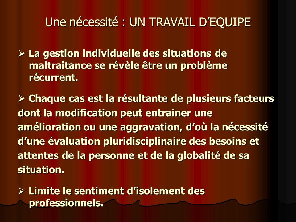 Une nécessité : UN TRAVAIL DEQUIPE La gestion individuelle des situations de maltraitance se révèle être un problème récurrent. La gestion individuell
