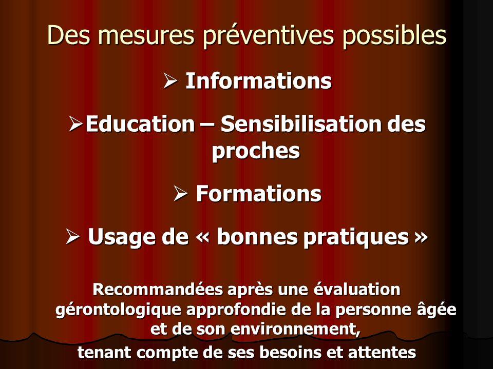 Des mesures préventives possibles Informations Informations Education – Sensibilisation des proches Education – Sensibilisation des proches Formations