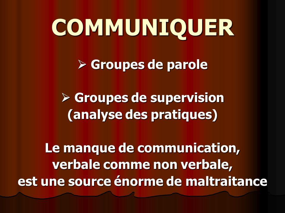 COMMUNIQUER Groupes de parole Groupes de parole Groupes de supervision Groupes de supervision (analyse des pratiques) Le manque de communication, verb