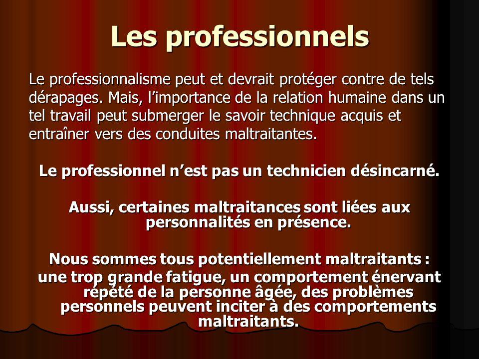 Les professionnels Le professionnalisme peut et devrait protéger contre de tels dérapages. Mais, limportance de la relation humaine dans un tel travai