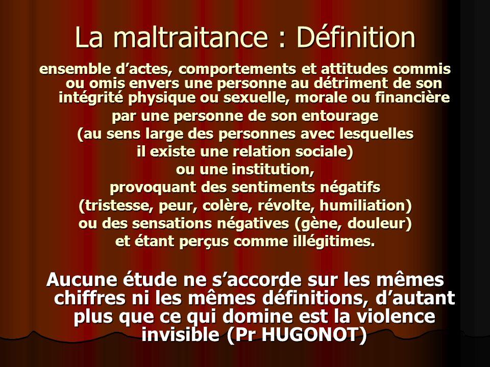 La maltraitance : Définition ensemble dactes, comportements et attitudes commis ou omis envers une personne au détriment de son intégrité physique ou