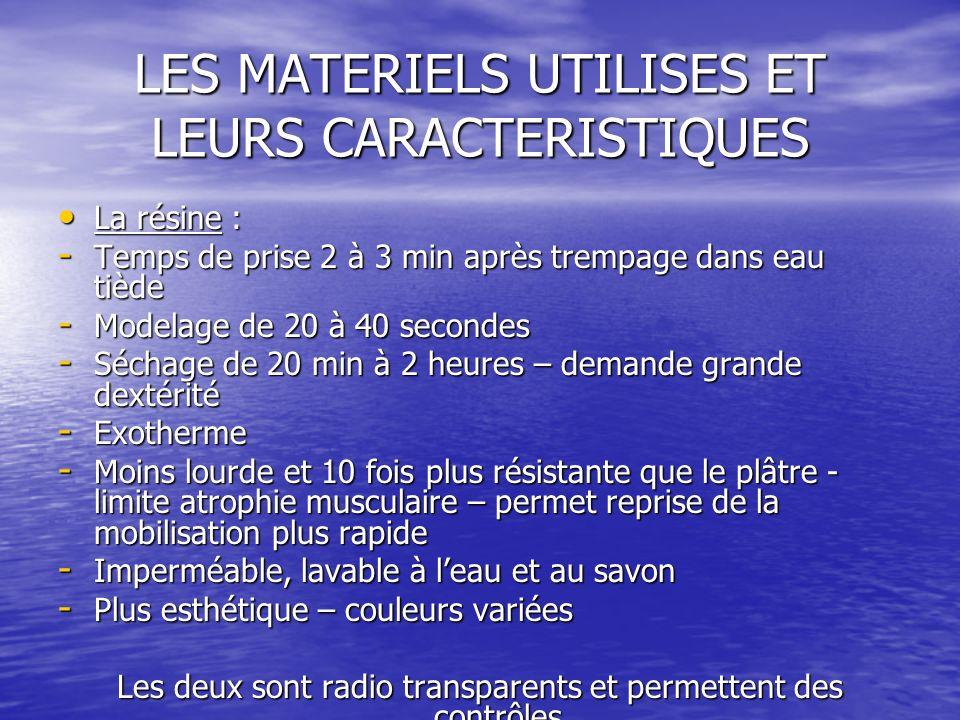 LES MATERIELS UTILISES ET LEURS CARACTERISTIQUES La résine : La résine : - Temps de prise 2 à 3 min après trempage dans eau tiède - Modelage de 20 à 4