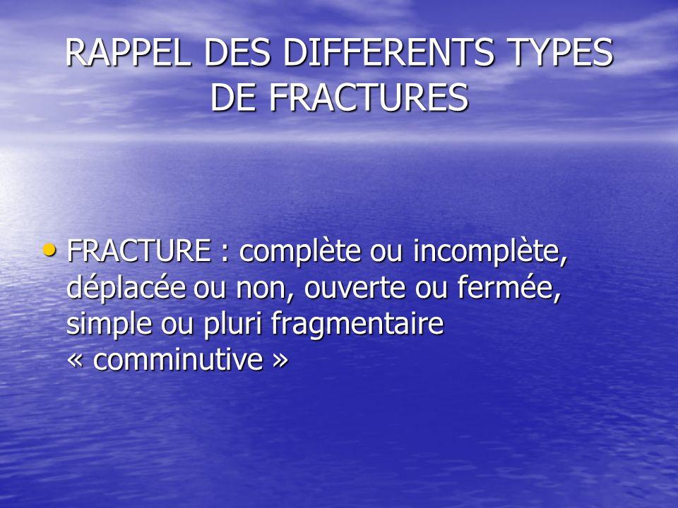 RAPPEL DES DIFFERENTS TYPES DE FRACTURES FRACTURE : complète ou incomplète, déplacée ou non, ouverte ou fermée, simple ou pluri fragmentaire « comminu
