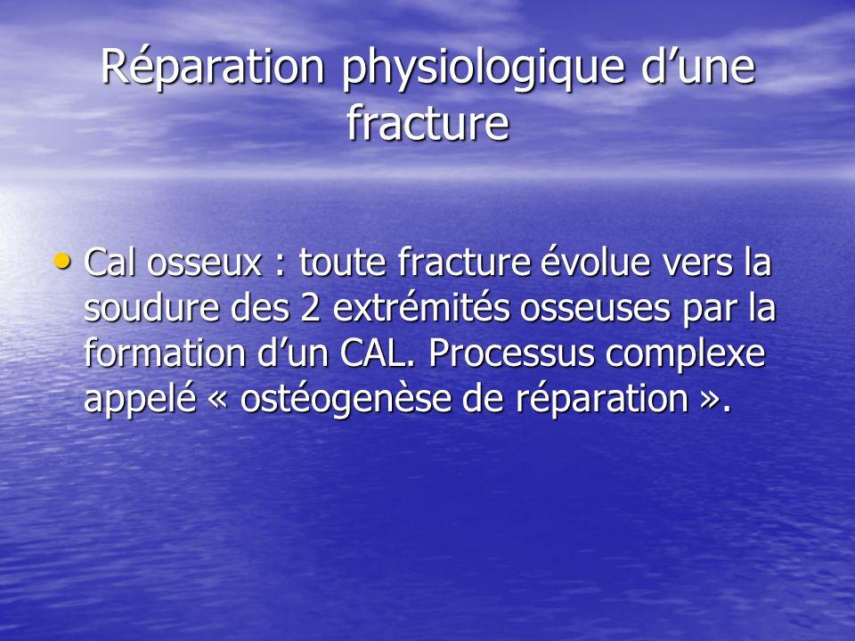 Réparation physiologique dune fracture Cal osseux : toute fracture évolue vers la soudure des 2 extrémités osseuses par la formation dun CAL. Processu