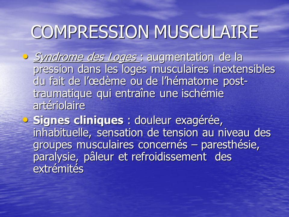 COMPRESSION MUSCULAIRE Syndrome des Loges : augmentation de la pression dans les loges musculaires inextensibles du fait de lœdème ou de lhématome pos