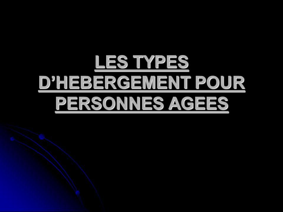 LES TYPES DHEBERGEMENT POUR PERSONNES AGEES