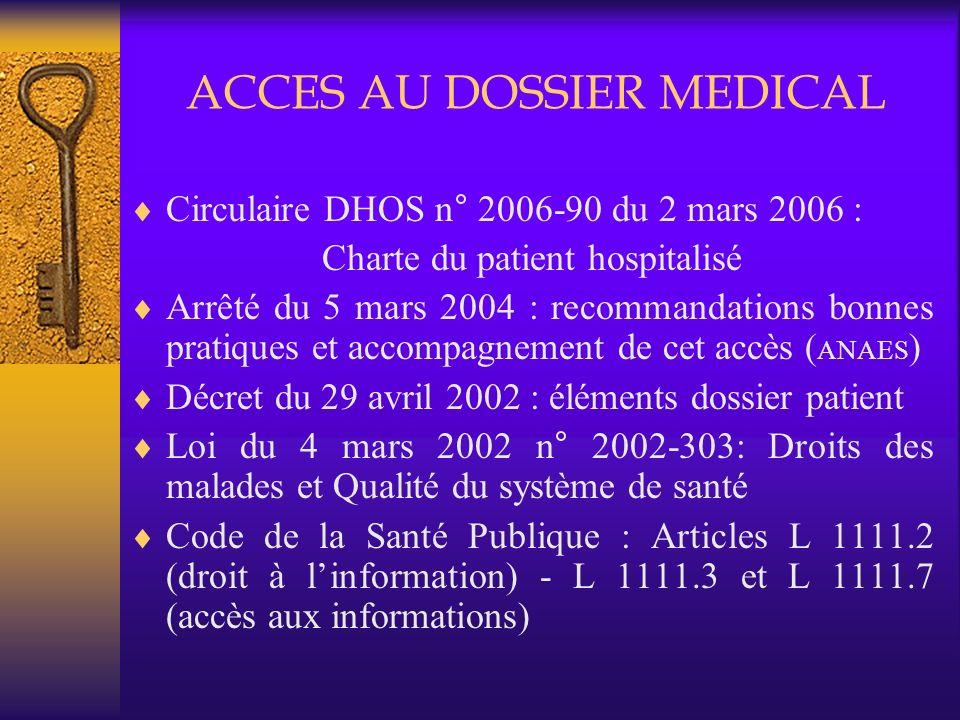ACCES AU DOSSIER MEDICAL Circulaire DHOS n° 2006-90 du 2 mars 2006 : Charte du patient hospitalisé Arrêté du 5 mars 2004 : recommandations bonnes prat