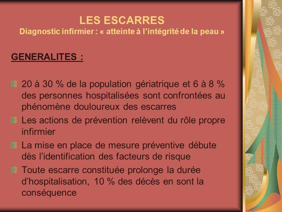 LES ESCARRES Diagnostic infirmier : « atteinte à lintégrité de la peau » GENERALITES : 20 à 30 % de la population gériatrique et 6 à 8 % des personnes