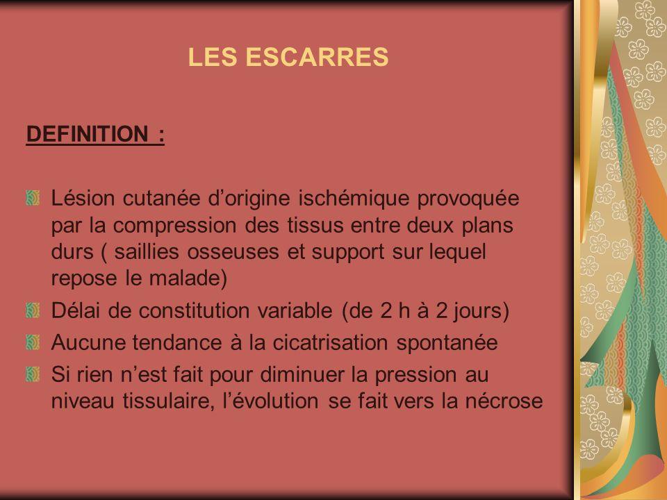 LES ESCARRES DEFINITION : Lésion cutanée dorigine ischémique provoquée par la compression des tissus entre deux plans durs ( saillies osseuses et supp