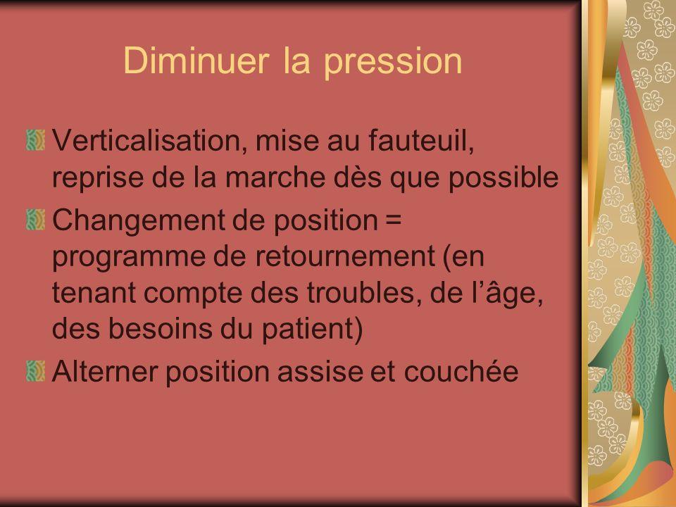 Diminuer la pression Verticalisation, mise au fauteuil, reprise de la marche dès que possible Changement de position = programme de retournement (en t