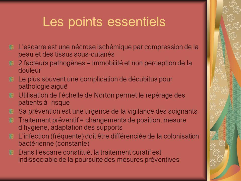 Les points essentiels Lescarre est une nécrose ischémique par compression de la peau et des tissus sous-cutanés 2 facteurs pathogènes = immobilité et