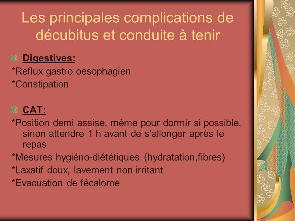 Les principales complications de décubitus et conduite à tenir Digestives: *Reflux gastro oesophagien *Constipation CAT: *Position demi assise, même p