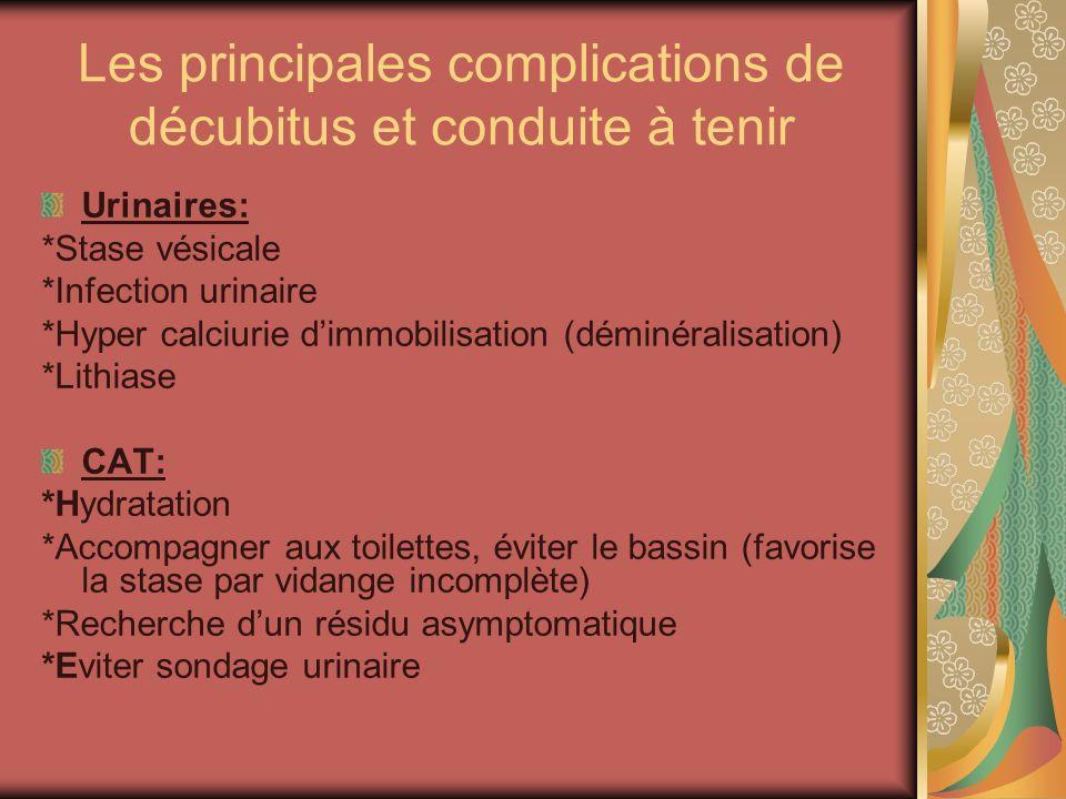 Les principales complications de décubitus et conduite à tenir Urinaires: *Stase vésicale *Infection urinaire *Hyper calciurie dimmobilisation (déminé