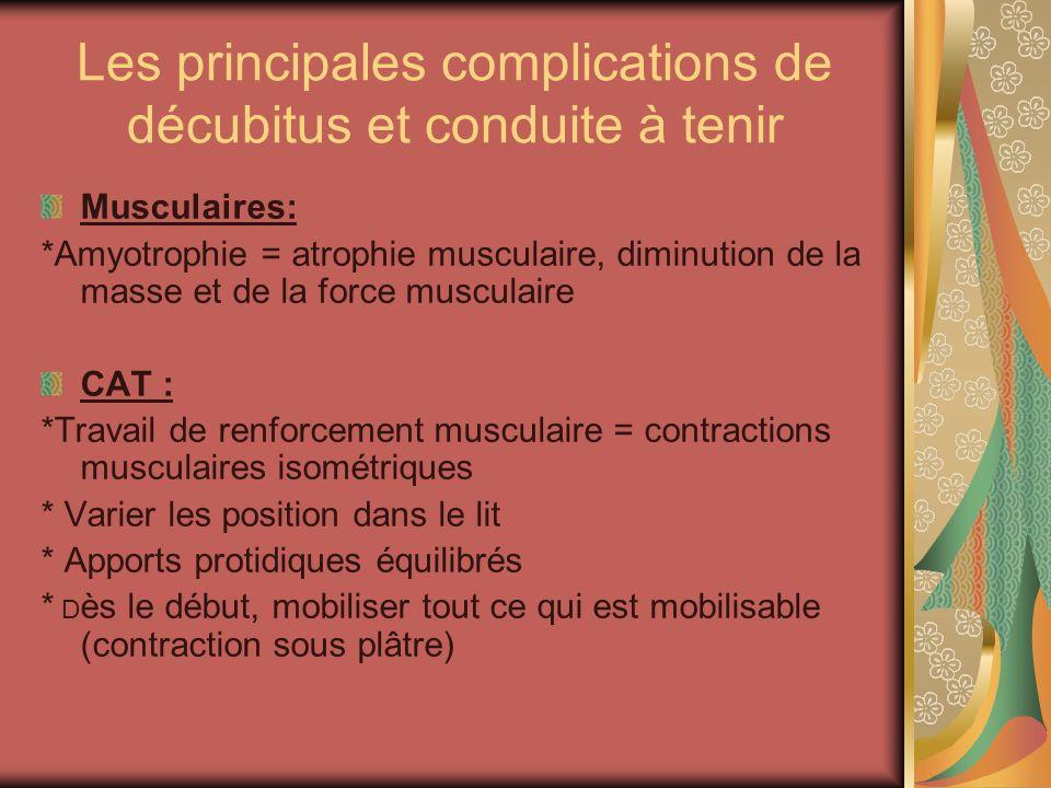 Les principales complications de décubitus et conduite à tenir Musculaires: *Amyotrophie = atrophie musculaire, diminution de la masse et de la force