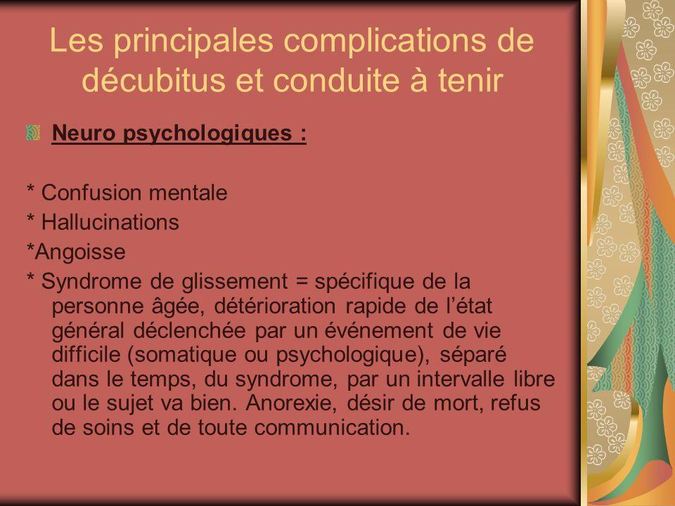 Les principales complications de décubitus et conduite à tenir Neuro psychologiques : * Confusion mentale * Hallucinations *Angoisse * Syndrome de gli