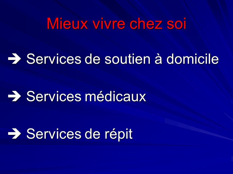 Mieux vivre chez soi Services de soutien à domicile Services de soutien à domicile Services médicaux Services médicaux Services de répit Services de r