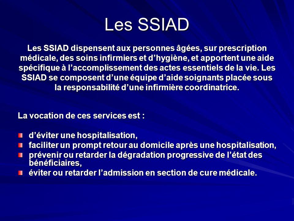 Les SSIAD Les SSIAD dispensent aux personnes âgées, sur prescription médicale, des soins infirmiers et dhygiène, et apportent une aide spécifique à la