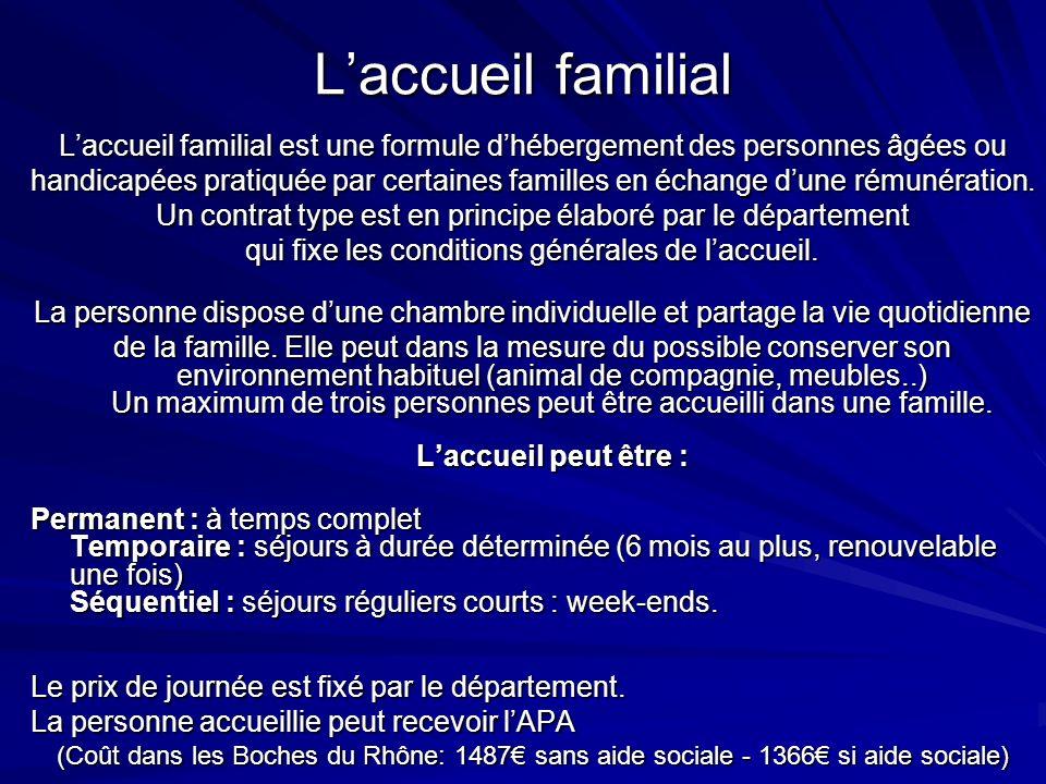 Laccueil familial Laccueil familial est une formule dhébergement des personnes âgées ou handicapées pratiquée par certaines familles en échange dune r