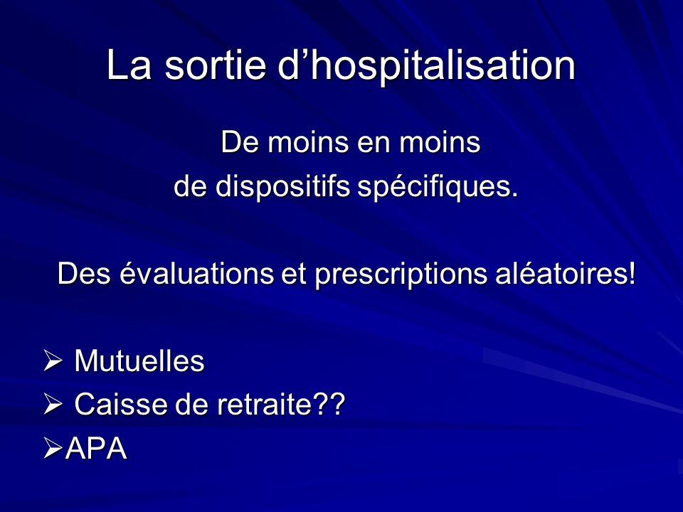 La sortie dhospitalisation De moins en moins De moins en moins de dispositifs spécifiques. Des évaluations et prescriptions aléatoires! Mutuelles Mutu