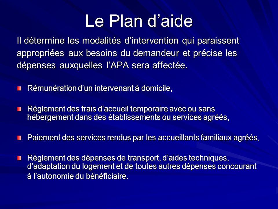 Le Plan daide Il détermine les modalités dintervention qui paraissent appropriées aux besoins du demandeur et précise les dépenses auxquelles lAPA ser