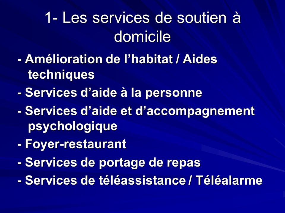 1- Les services de soutien à domicile - Amélioration de lhabitat / Aides techniques - Services daide à la personne - Services daide et daccompagnement