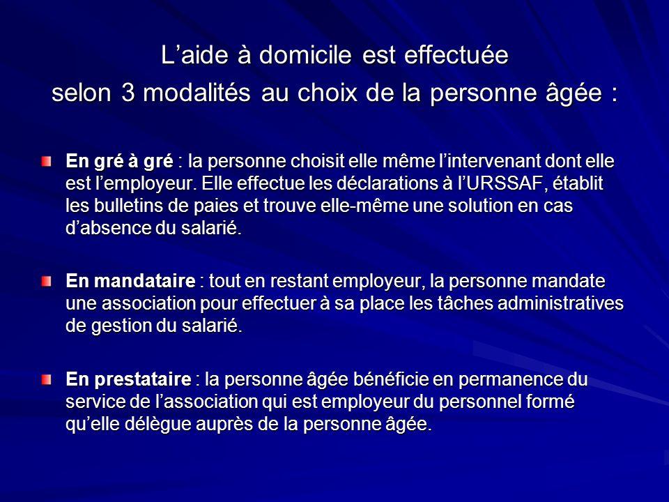 Laide à domicile est effectuée selon 3 modalités au choix de la personne âgée : En gré à gré : la personne choisit elle même lintervenant dont elle es