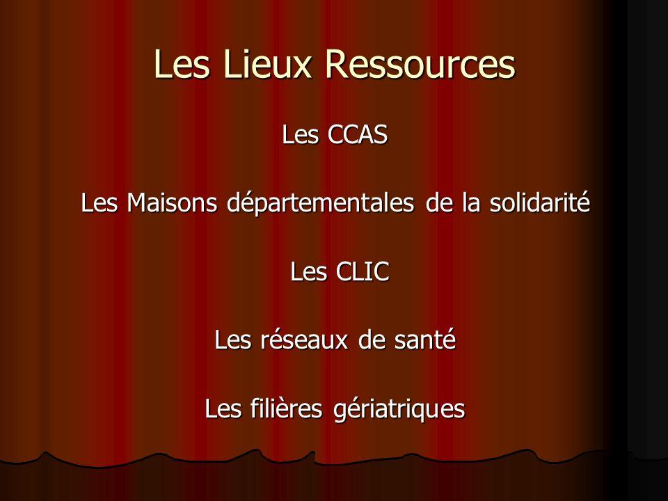 Les Lieux Ressources Les CCAS Les Maisons départementales de la solidarité Les CLIC Les CLIC Les réseaux de santé Les filières gériatriques