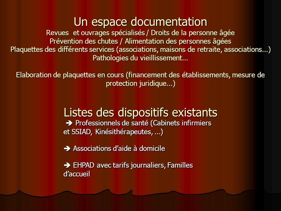 Un espace documentation Revues et ouvrages spécialisés / Droits de la personne âgée Prévention des chutes / Alimentation des personnes âgées Plaquette