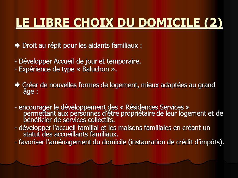LE LIBRE CHOIX DU DOMICILE (2) Droit au répit pour les aidants familiaux : Droit au répit pour les aidants familiaux : - Développer Accueil de jour et