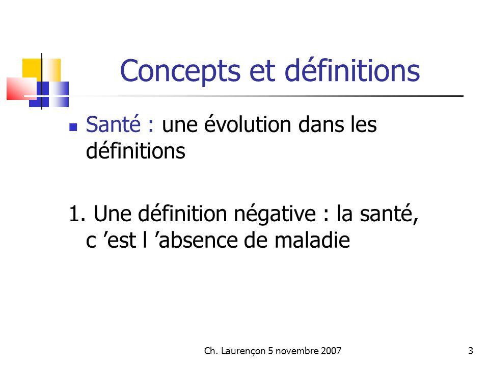 Ch.Laurençon 5 novembre 200724 Concepts et définitions...