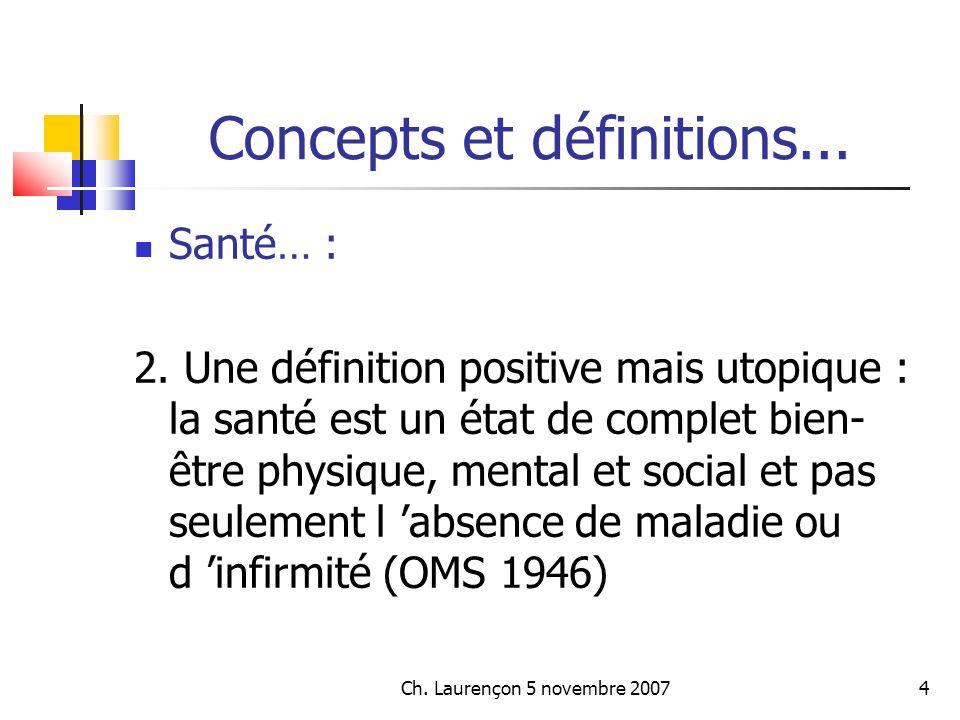 Ch.Laurençon 5 novembre 200725 Concepts et définitions...