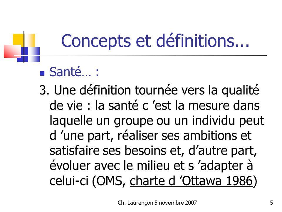Ch.Laurençon 5 novembre 200726 Concepts et définitions...