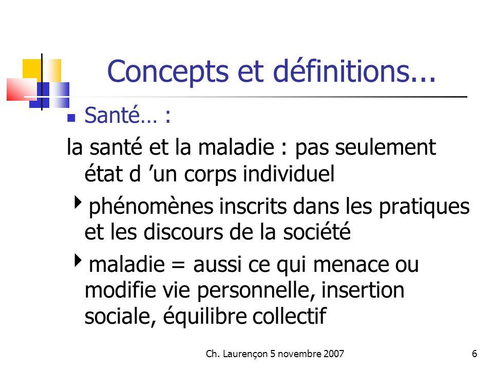 Ch.Laurençon 5 novembre 20077 Concepts et définitions...