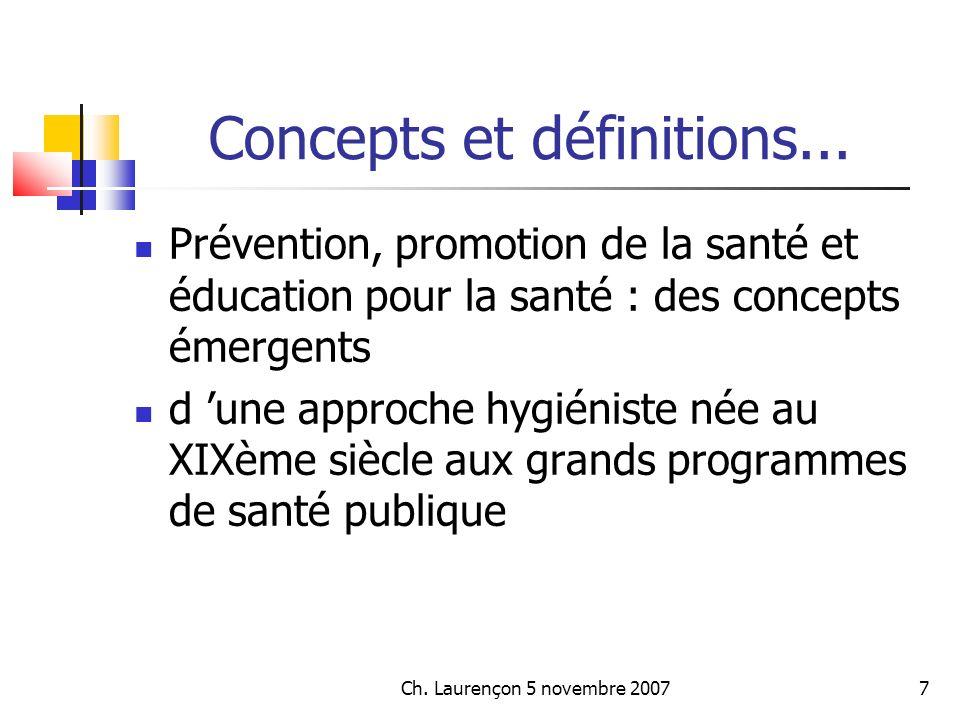 Ch.Laurençon 5 novembre 200718 Concepts et définitions...