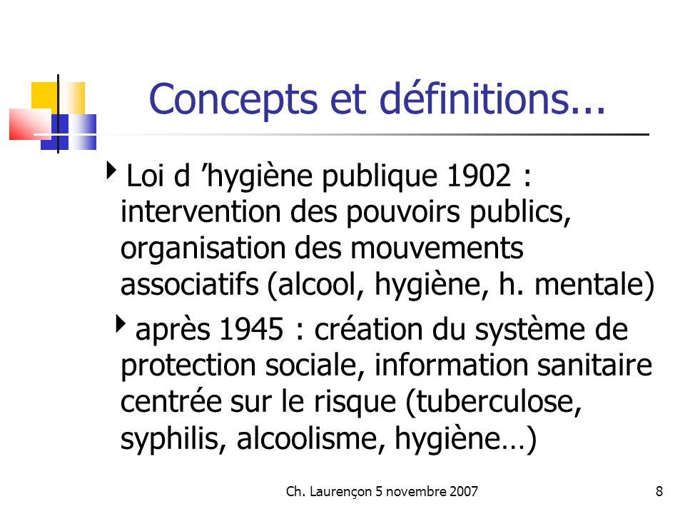 Ch.Laurençon 5 novembre 200729 Concepts et définitions...