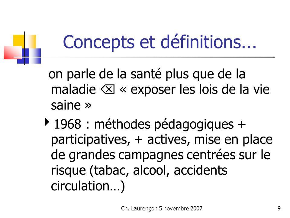 Ch.Laurençon 5 novembre 200710 Concepts et définitions...