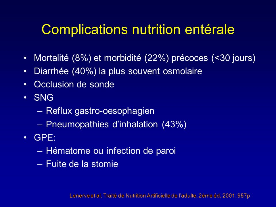 Complications nutrition entérale Mortalité (8%) et morbidité (22%) précoces (<30 jours) Diarrhée (40%) la plus souvent osmolaire Occlusion de sonde SN