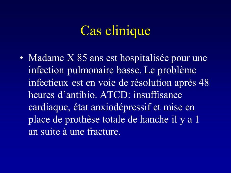 Cas clinique Madame X 85 ans est hospitalisée pour une infection pulmonaire basse. Le problème infectieux est en voie de résolution après 48 heures da