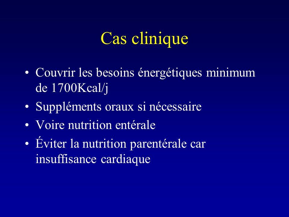 Cas clinique Couvrir les besoins énergétiques minimum de 1700Kcal/j Suppléments oraux si nécessaire Voire nutrition entérale Éviter la nutrition paren
