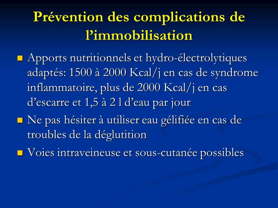 Prévention des complications de limmobilisation Apports nutritionnels et hydro-électrolytiques adaptés: 1500 à 2000 Kcal/j en cas de syndrome inflammatoire, plus de 2000 Kcal/j en cas descarre et 1,5 à 2 l deau par jour Apports nutritionnels et hydro-électrolytiques adaptés: 1500 à 2000 Kcal/j en cas de syndrome inflammatoire, plus de 2000 Kcal/j en cas descarre et 1,5 à 2 l deau par jour Ne pas hésiter à utiliser eau gélifiée en cas de troubles de la déglutition Ne pas hésiter à utiliser eau gélifiée en cas de troubles de la déglutition Voies intraveineuse et sous-cutanée possibles Voies intraveineuse et sous-cutanée possibles
