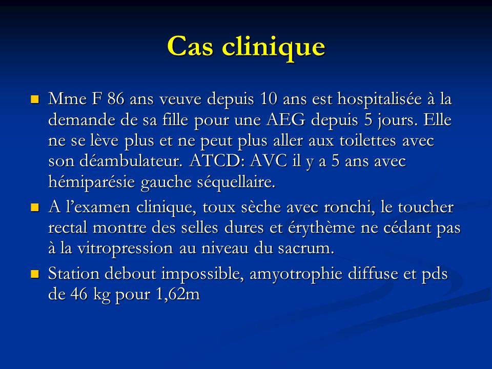 Cas clinique Mme F 86 ans veuve depuis 10 ans est hospitalisée à la demande de sa fille pour une AEG depuis 5 jours.