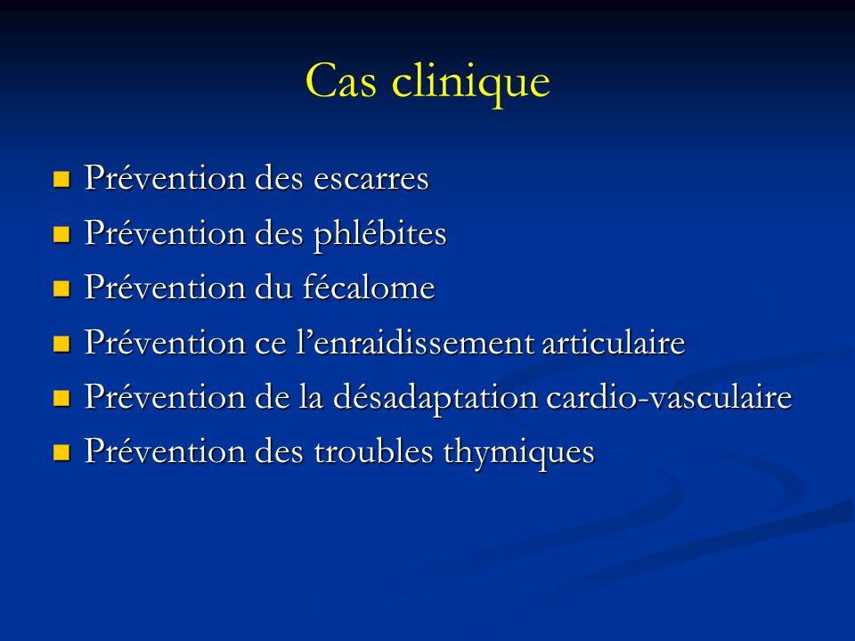 Cas clinique Prévention des escarres Prévention des escarres Prévention des phlébites Prévention des phlébites Prévention du fécalome Prévention du fécalome Prévention ce lenraidissement articulaire Prévention ce lenraidissement articulaire Prévention de la désadaptation cardio-vasculaire Prévention de la désadaptation cardio-vasculaire Prévention des troubles thymiques Prévention des troubles thymiques
