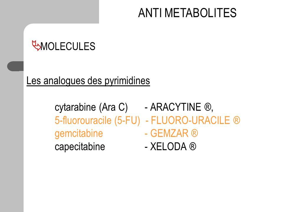 Les analogues des pyrimidines cytarabine (Ara C) - ARACYTINE ®, 5-fluorouracile (5-FU) - FLUORO-URACILE ® gemcitabine - GEMZAR ® capecitabine - XELODA