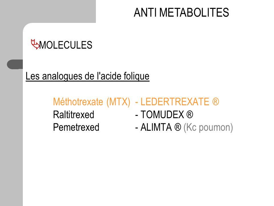 Les analogues de l'acide folique Méthotrexate (MTX)- LEDERTREXATE ® Raltitrexed - TOMUDEX ® Pemetrexed - ALIMTA ® (Kc poumon) ANTI METABOLITES MOLECUL