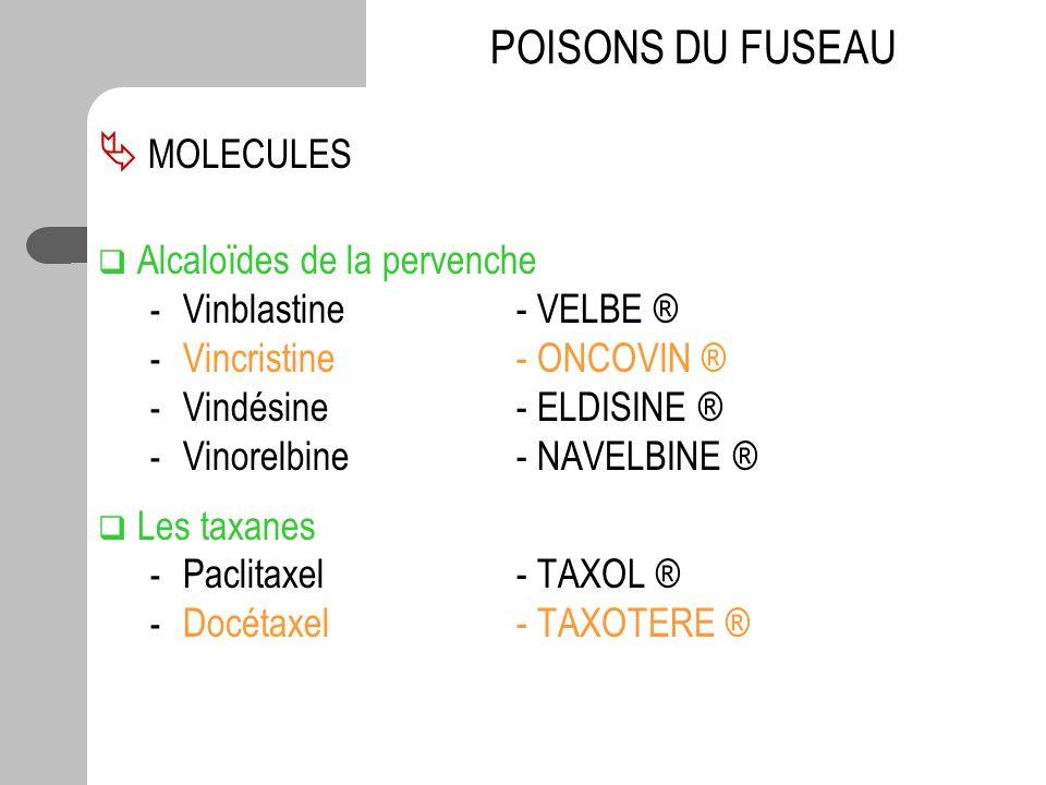 MOLECULES Alcaloïdes de la pervenche - Vinblastine - VELBE ® - Vincristine - ONCOVIN ® - Vindésine - ELDISINE ® - Vinorelbine- NAVELBINE ® Les taxanes