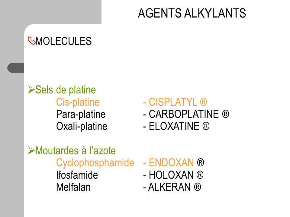 AGENTS ALKYLANTS MOLECULES Sels de platine Cis-platine - CISPLATYL ® Para-platine - CARBOPLATINE ® Oxali-platine - ELOXATINE ® Moutardes à lazote Cycl