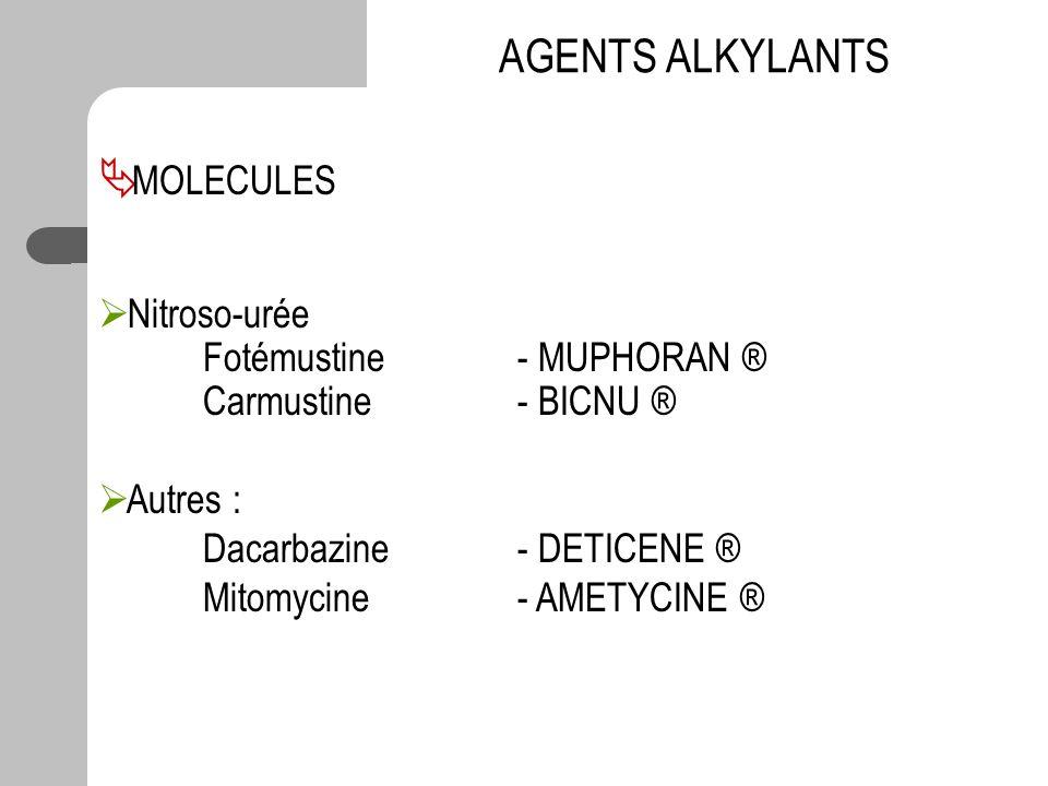 MOLECULES Nitroso-urée Fotémustine - MUPHORAN ® Carmustine- BICNU ® Autres : Dacarbazine - DETICENE ® Mitomycine - AMETYCINE ® AGENTS ALKYLANTS